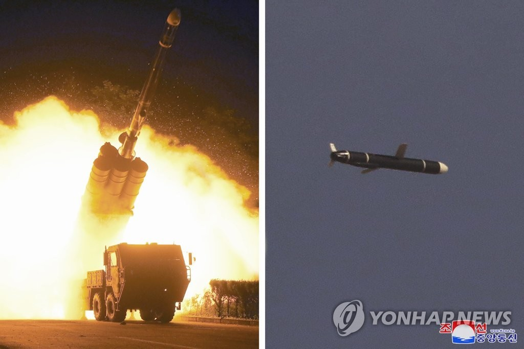 The photos, provided by the Korean Central News Agency on Monday, show a missile being fired and traveling in the sky. (Korean Central News Agency)