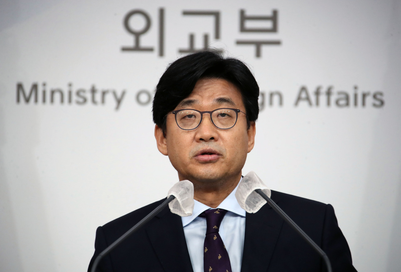 This file photo, taken Aug. 25, 2021, shows Second Vice Foreign Minister Choi Jong-moon speaking during a press briefing at the foreign ministry in Seoul. (Yonhap)