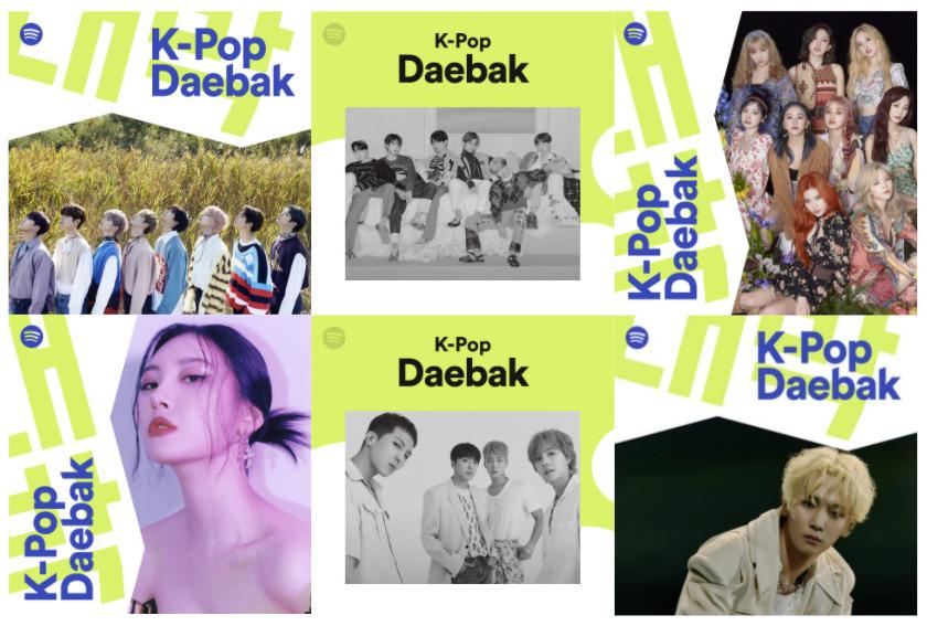K-Pop Daebak's playlist covers (Spotify)