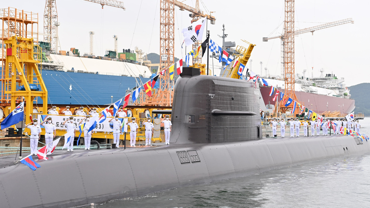 South Korea reveals its Dosan Ahn Chang-ho submarine, the country's first 3,000-ton underwater vessel capable of carrying ballistic missiles, Aug. 13, 2021. (South Korean Navy)