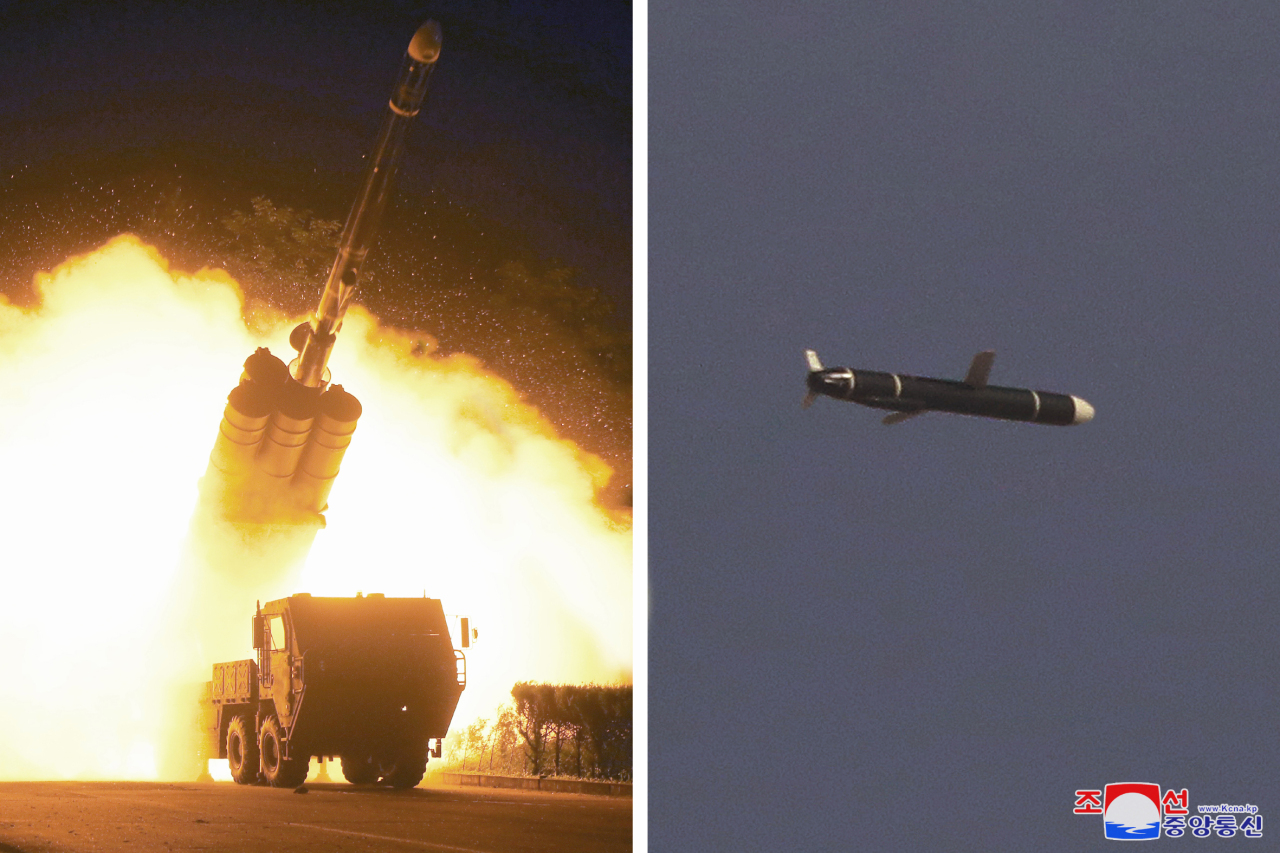 In this photos, provided by the Korean Central News Agency on Monday, show a missile being fired and traveling in the sky. (KCNA-Yonhap)