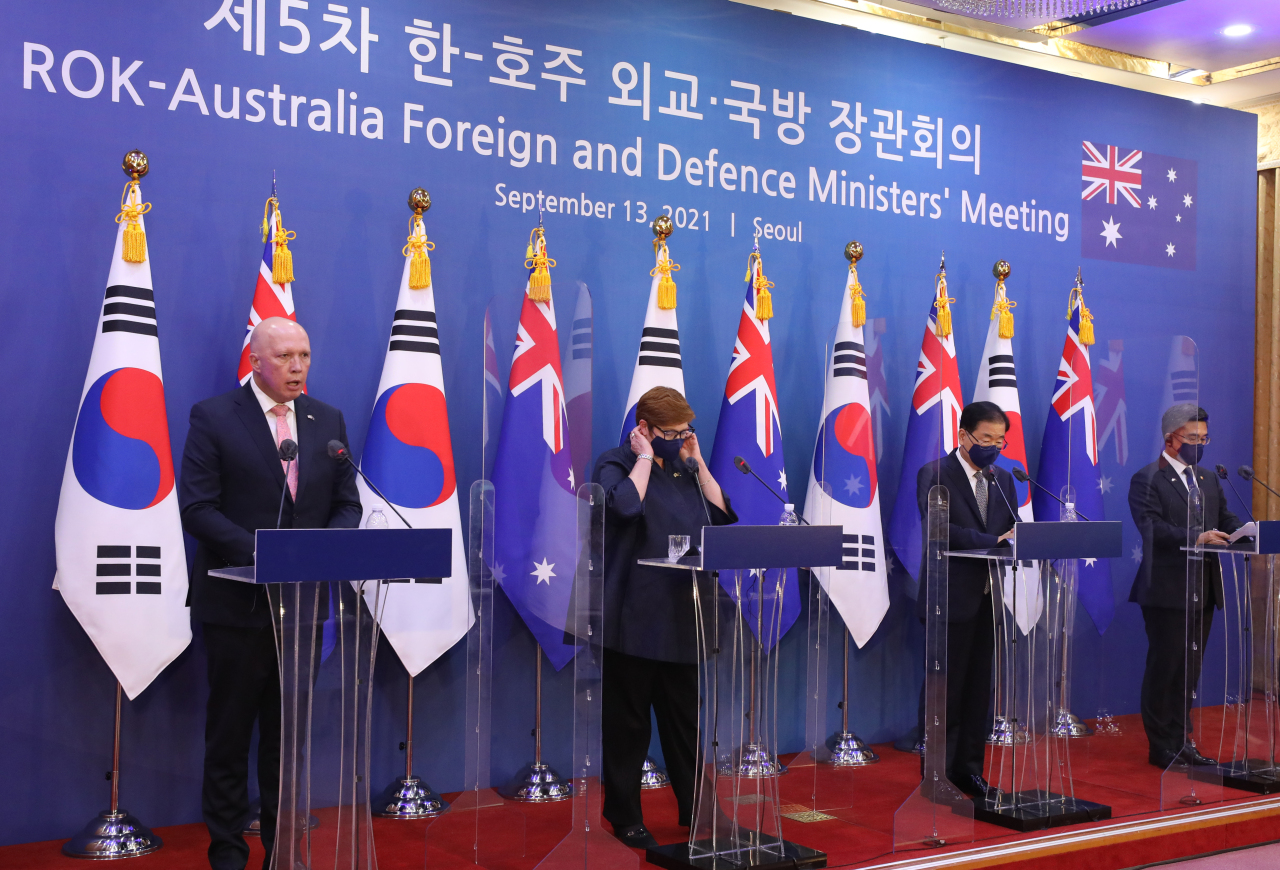 South Korean and Australian foreign and defense ministers at a meeting. (Yonhap)