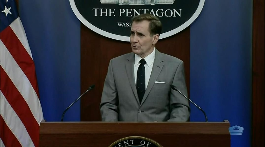 Department of Defense spokesman John Kirby is seen answering questions in a press briefing at the Pentagon in Washington onMonday in this image captured from the website of the defense department. (Yonhap)
