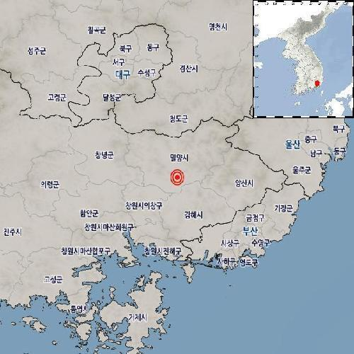 This image, provided by the Korea Meteorological Administration, shows the epicenter of a 2.2 magnitude earthquake that hit Miryang, about 390 kilometers southeast of Seoul, on Tuesday. (Yonhap)