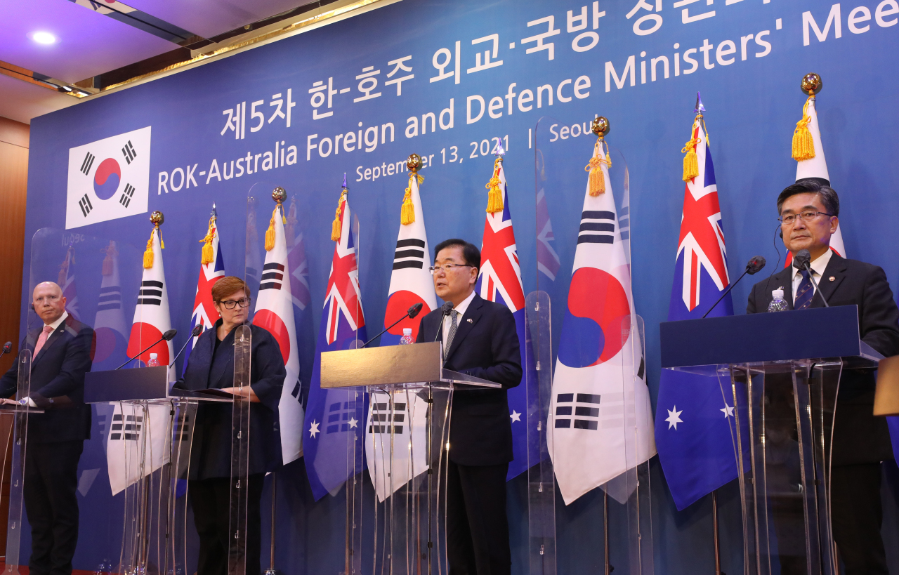 (From L to R) Australian Defense Minister Peter Dutton, Foreign Minister Marise Payne, South Korean Foreign Minister Chung Eui-yong and Defense Minister Suh Wook attend a press conference after holding