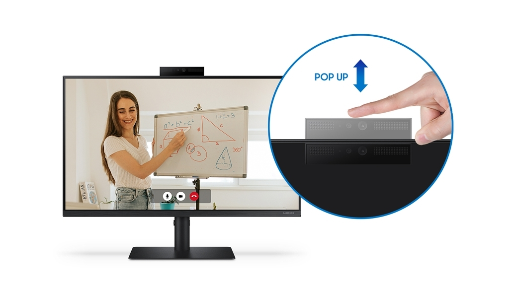 This photo, provided by Samsung Electronics Co. on Tuesday, shows its new 24-inch monitor, S40VA, with a pop-up camera. (Samsung Electronics Co.)
