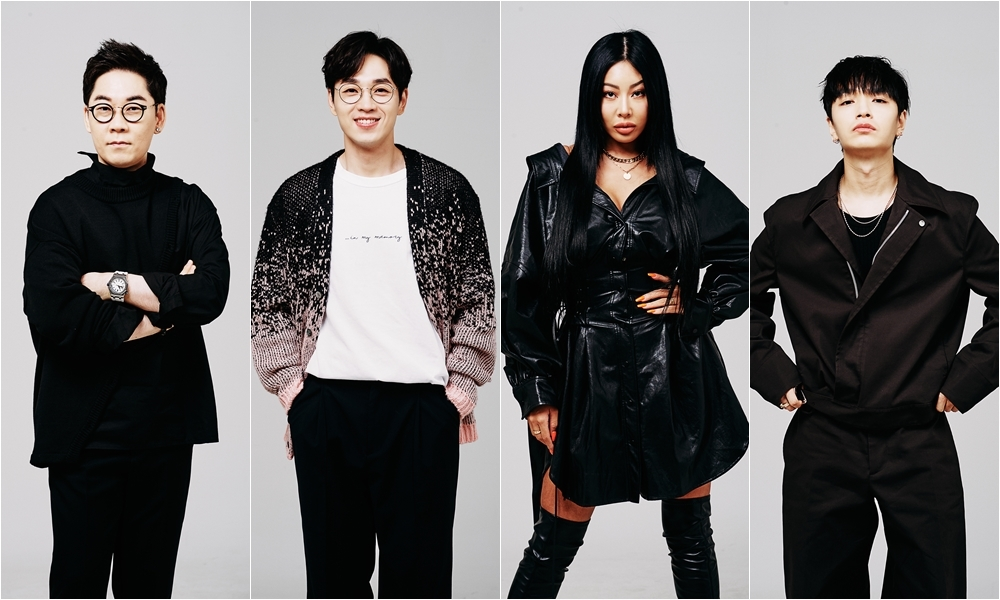 (From left) Artists Kim Yeon-woo, Lee Seok-hoon, Jessi and Simon Dominic star as the juries of the program (MBC)