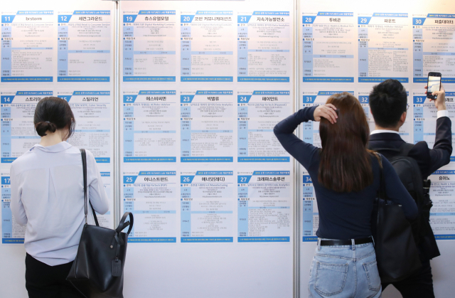 People look at a bulletin board at a startup job fair held in Seoul in 2019. (Yonhap)
