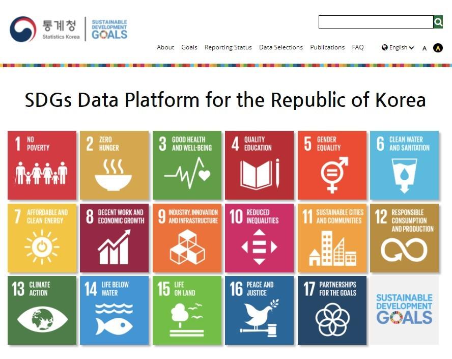 Screen capture of Statistics Korea's website on the country's progress in achieving UN Sustainable Development Goals
