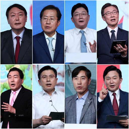 This composite image shows the winners of the People Power Party's first primary round, ex-Prosecutor General Yoon Seok-youl (from top L), Rep. Hong Joon-pyo, Yoo Seong-min, ex-chief of the Board of Audit and Inspection Choe Jae-hyeong, ex-Incheon Mayor Ahn Sang-soo, ex-Prime Minister Hwang Kyo-ahn, Rep. Ha Tae-keung and ex-Jeju Gov. Won Hee-ryong. (Yonhap)