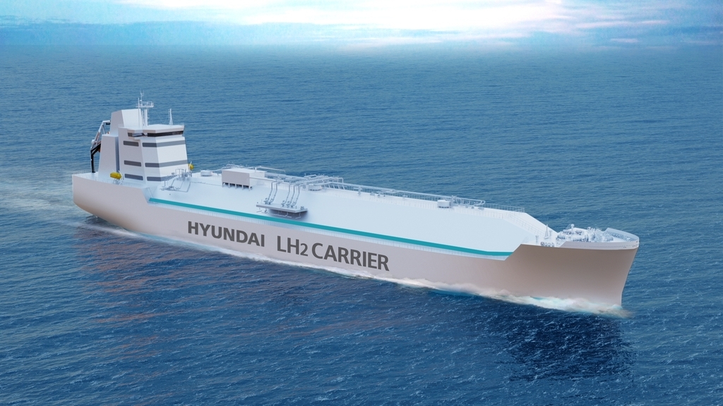 This image provided by Hyundai Heavy Industries Group on Wednesday, shows a conceptual image of the group's liquefied hydrogen carrier being developed by the group. (Yonhap)