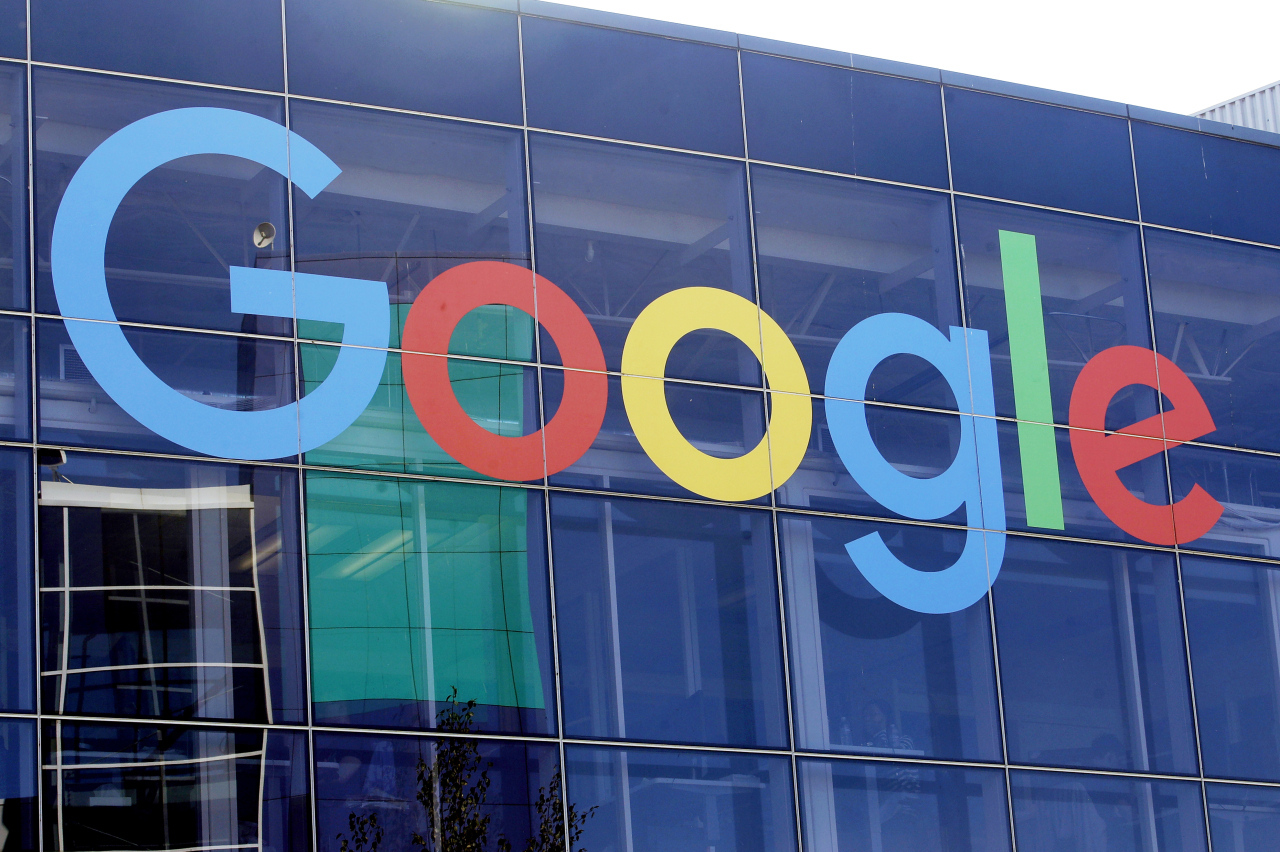 In this file photo, a sign of Google is shown on a Google building at their campus in Mountain View, California. (AP-Yonhap)