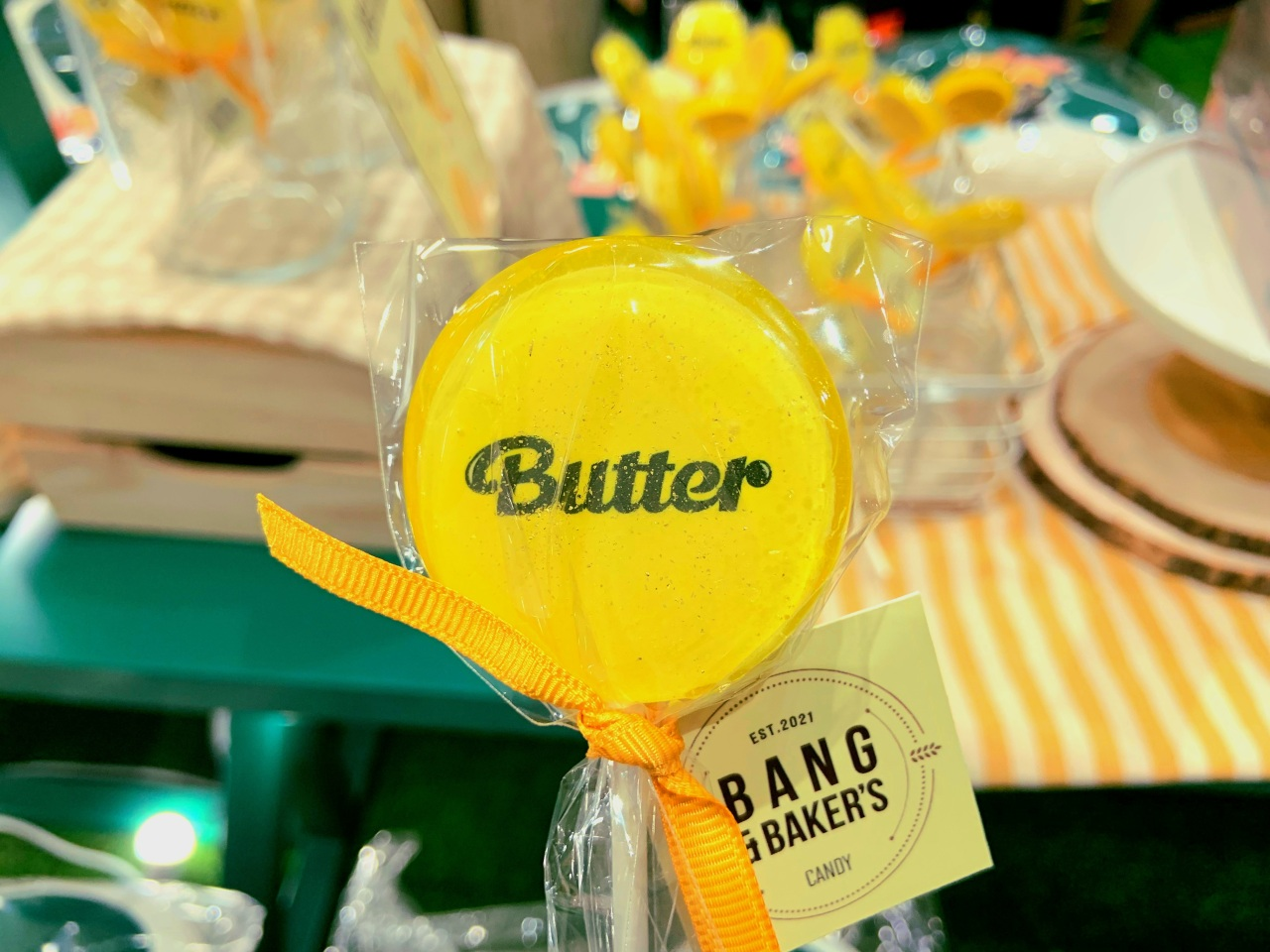"""This file photo shows a BTS-themed lollipop named after the band's megahit song """"Butter."""" (Park Jun-hee/The Korea Herald)"""
