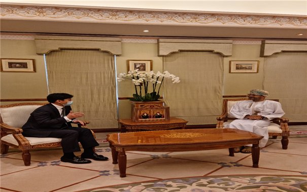 Second Vice Foreign Minister Choi Jong-moon (left) speaks with Omani Foreign Minister Badr Albusaidi during his recent visit to the country. (Ministry of Foreign Affairs)