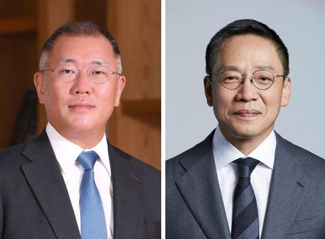 Hyundai Motor Group Chairman Chung Euisun (left) and Hyundai Card Vice Chairman Chung Tae-young (courtesy of respective companies)