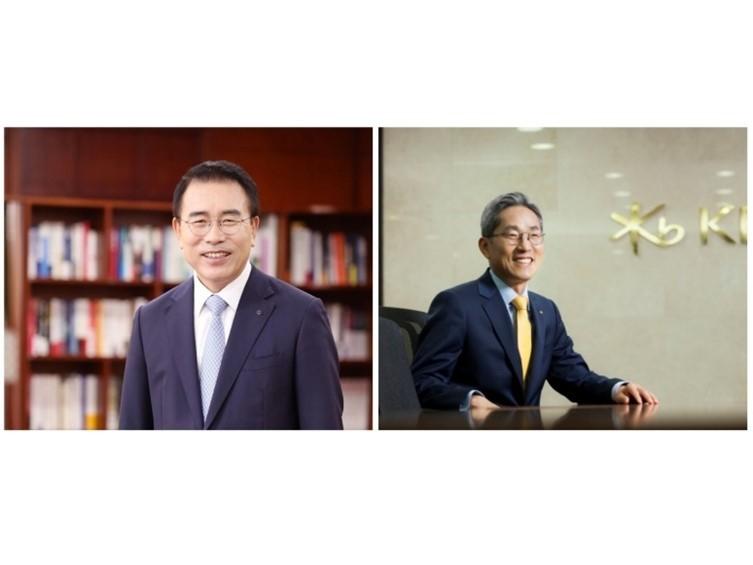 KB Financial Group Chairman Yoon Jong-kyoo and Shinhan Financial Group Chairman Cho Yong-byoung