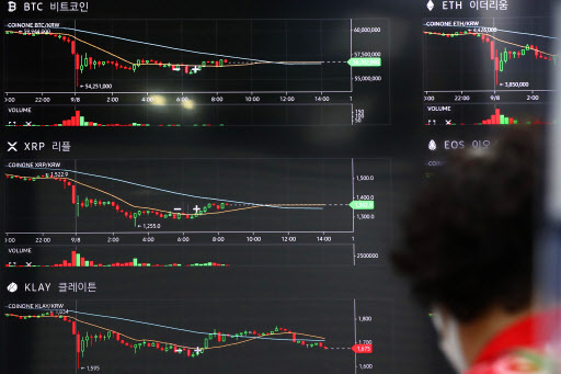 A customer looks at a digital price board of crpytocurrencies at a virtual asset exchange on Sept. 7. (Yonhap)