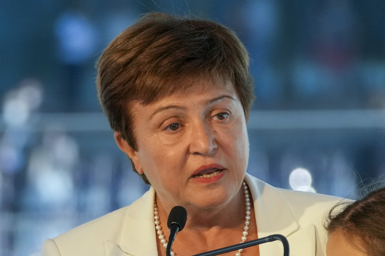 In this Sept. 6, 2021, file photo, Kristalina Georgieva, managing director of the International Monetary Fund, delivers a speech during the opening ceremony for the Floating Office where a high-level dialogue on climate adaptation takes place in Rotterdam, Netherlands. (AP)