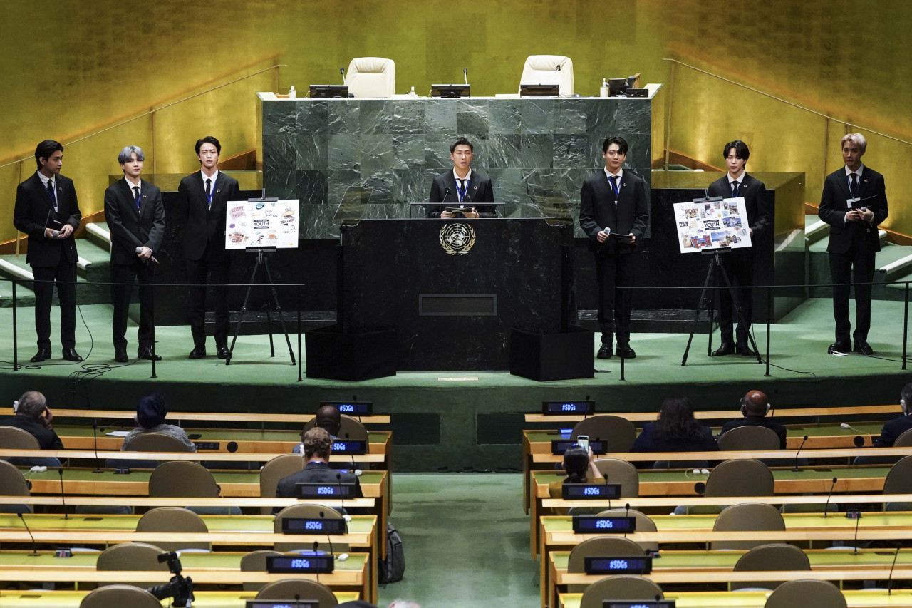 Boy band BTS poses at the United Nations General Assembly in New York on Monday. (Big Hit Music)