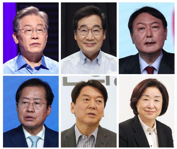 From top left to bottom right are Lee Jae-myung, Lee Nak-yon, Yoon Seok-youl, Hong Joon-pyo, Ahn Cheol-soo and Sim Sang-jung. (Yonhap)