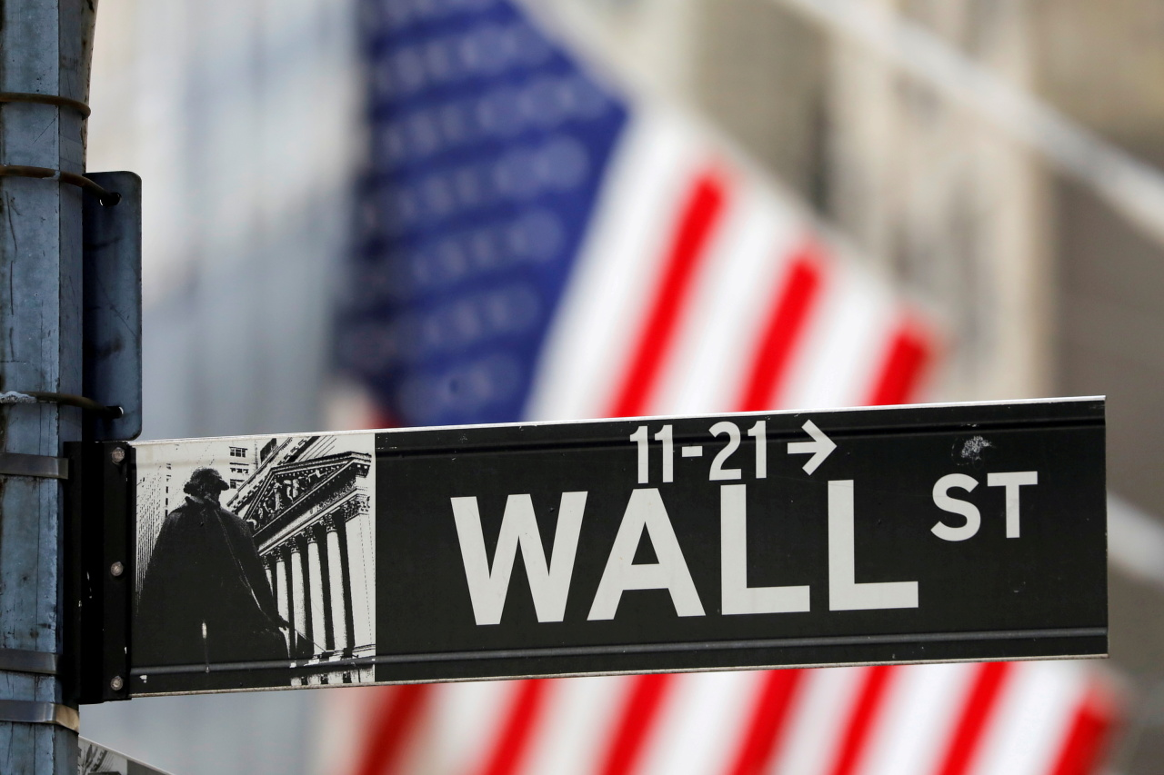 A sign for Wall Street hangs in front of the New York Stock Exchange. (AP-Yonhap)