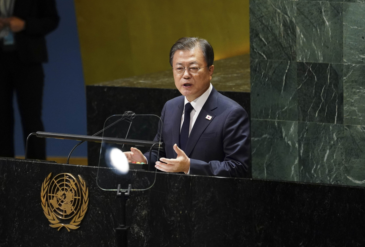South Korean President Moon Jae-in delivers a keynote speech during the 76th session of the UN General Assembly in New York on Tuesday. (Yonhap)