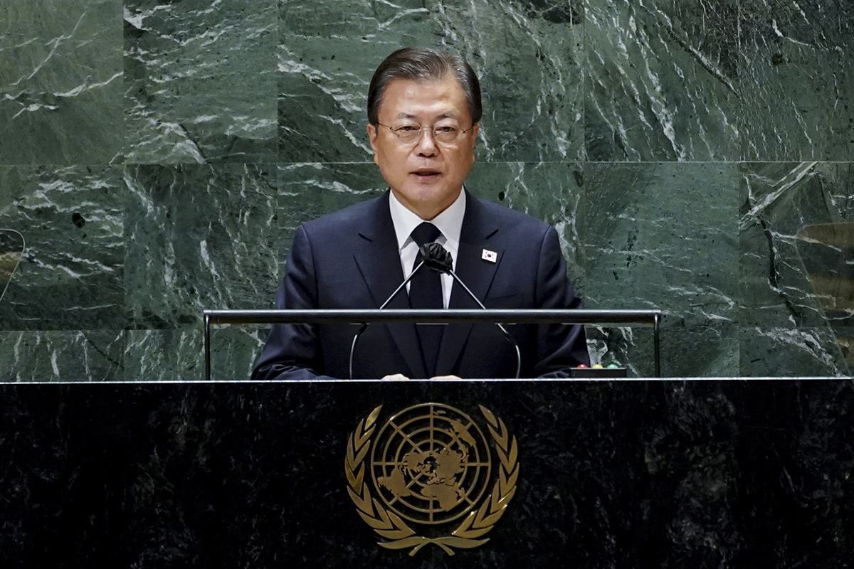 President Moon Jae-in delivers his speech at the UN General Assembly in New York on Tuesday. (Cheong Wa Dae)