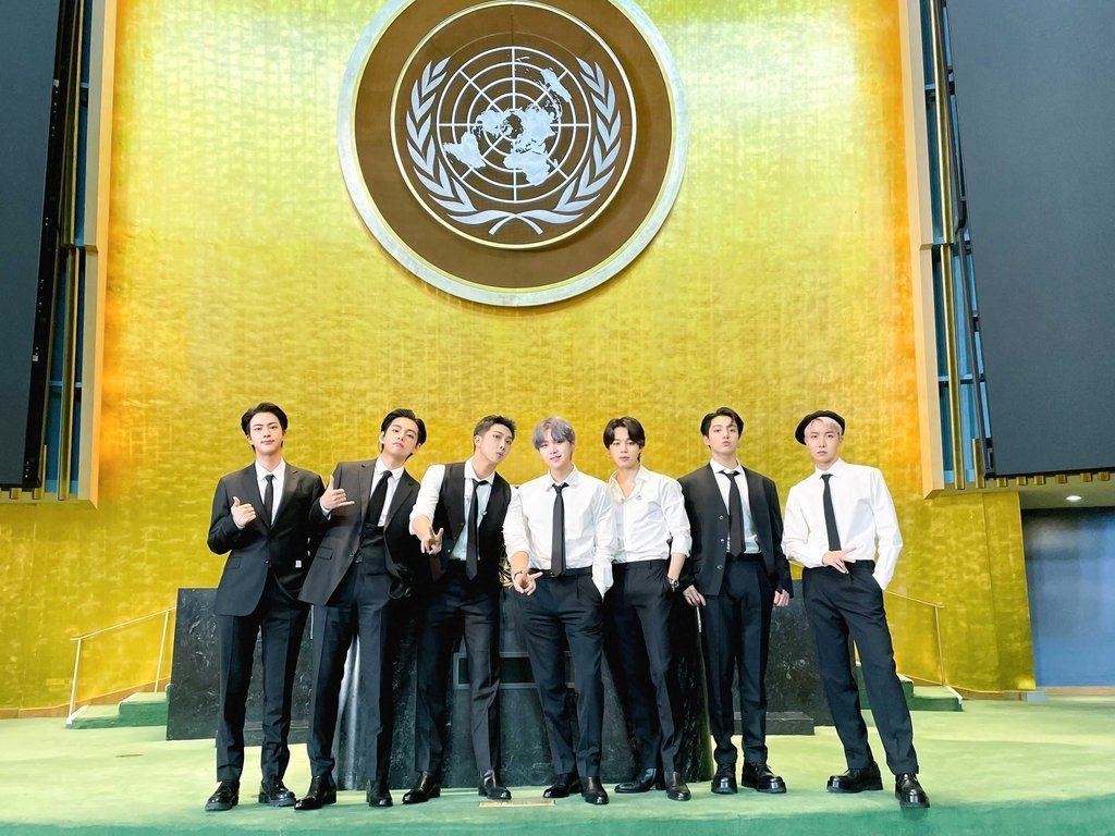 This image, captured from the Twitter account of BTS, shows its members posing for a photo at the second Sustainable Development Goals Moment (SDG Moment) event at the United Nations headquarters in New York on Monday. (Official BTS Twitter Account)