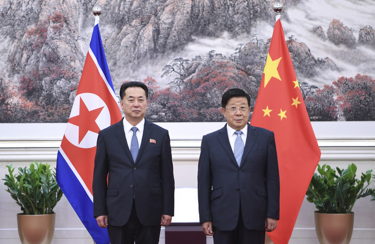 Chinese State Councilor and Minister of Public Security Zhao Kezhi meets with Ri Ryong Nam, ambassador of the Democratic People's Republic of Korea (DPRK) to China, in Beijing, capital of China, Aug. 30. (XinHua-Yonhap)