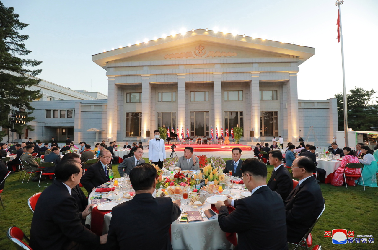 The 73rd founding anniversary of the DPRK at the office building of the Party Central Committee, in Pyongyang, North Korea, on Sept. 8. (EPA-Yonhap)