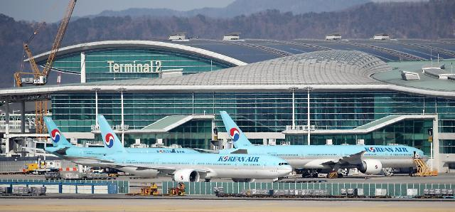 This file photo shows planes of Korea Air Lines Co. parked on the tarmac at Incheon International Airport, west of Seoul. (Yonhap)