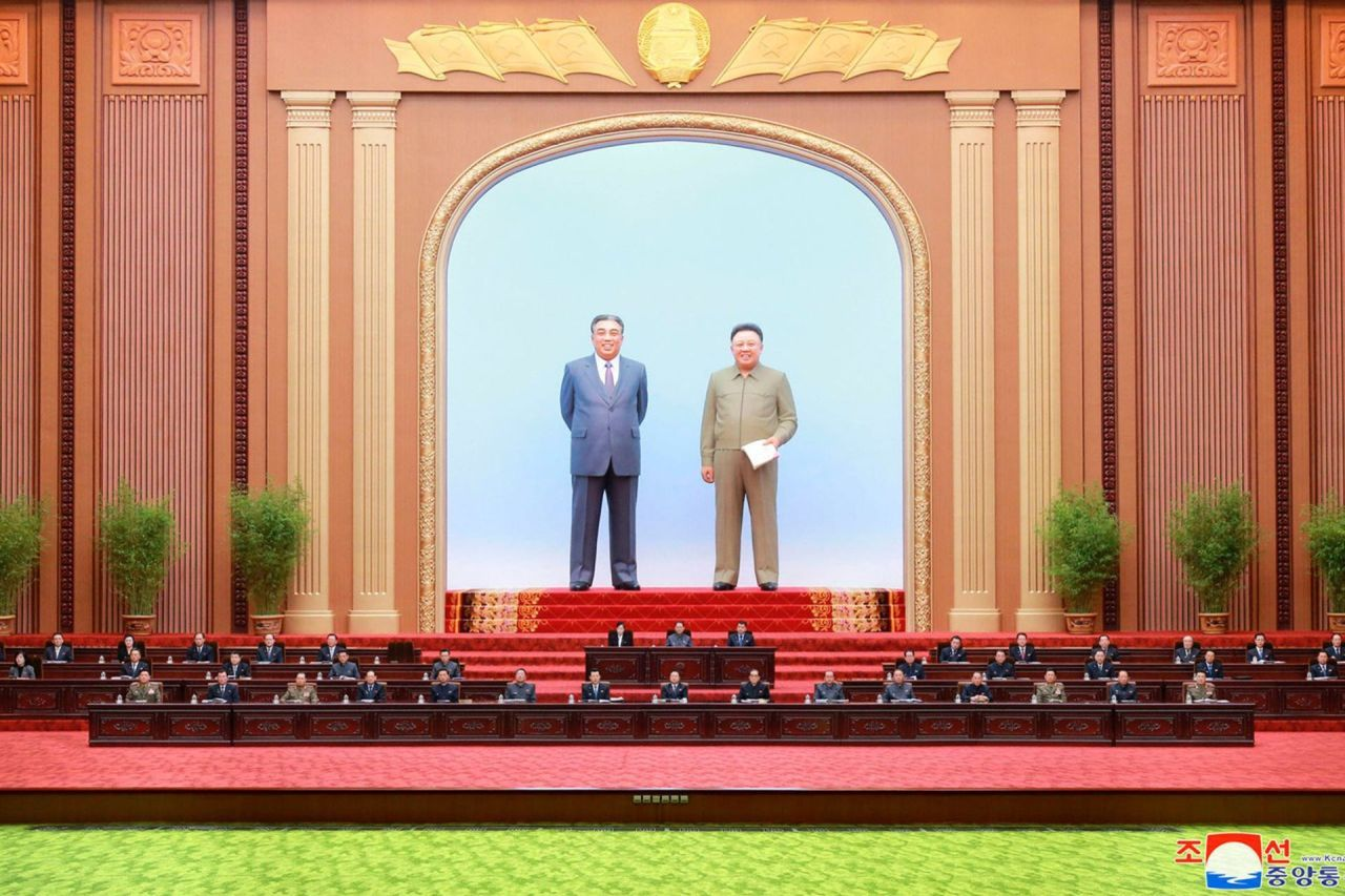 North Korea's Supreme People's Assembly holds a meeting at the Mansudae Assembly Hall in Pyongyang in this file photo released by the Korean Central News Agency. North Korean leader Kim Jong-un did not attend the meeting, which dealt with budgetary issues and the election of new members of the powerful State Affairs Commission led by Kim. (Yonhap)