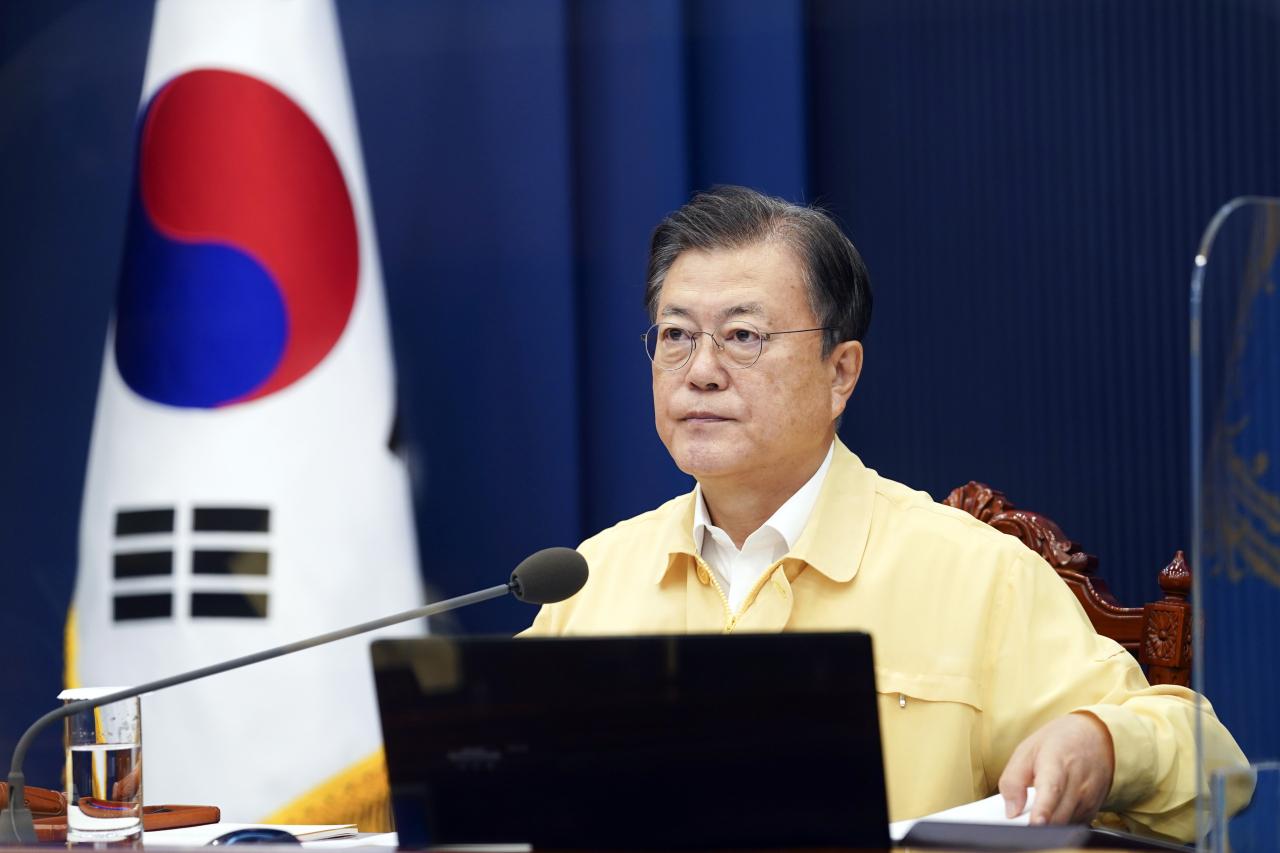 President Moon Jae-in convenes a Cabinet meeting on Sep. 14, 2021. (Yonhap)