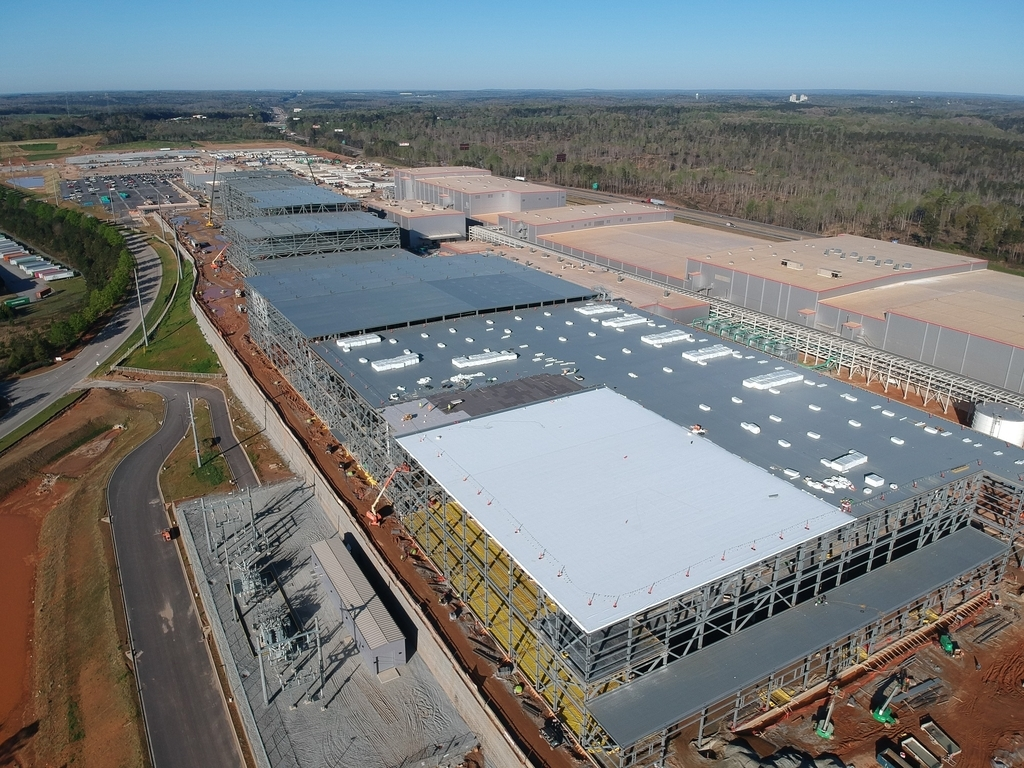 SK Innovation Co.'s battery factory under construction in the US state of Georgia is seen in this file photo provided by the company on Tuesday. (Yonhap)