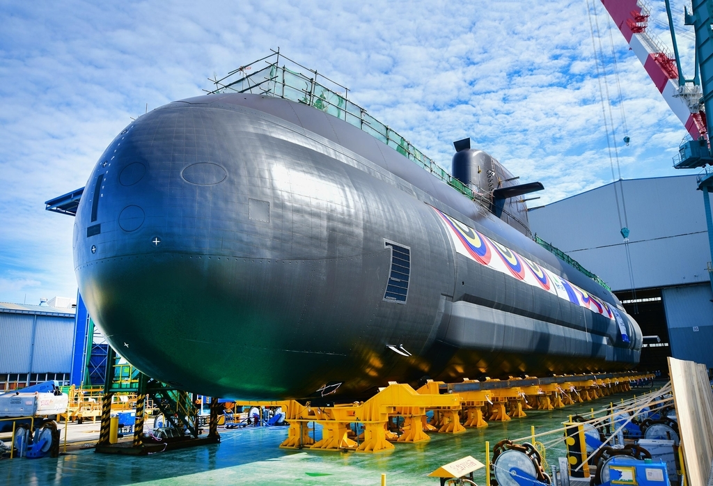 This photo, provided by the Navy on Tuesday, shows South Korea's new 3,000-ton-class submarine, the Shin Chae-ho, set to be launched later in the day. (The Navy)