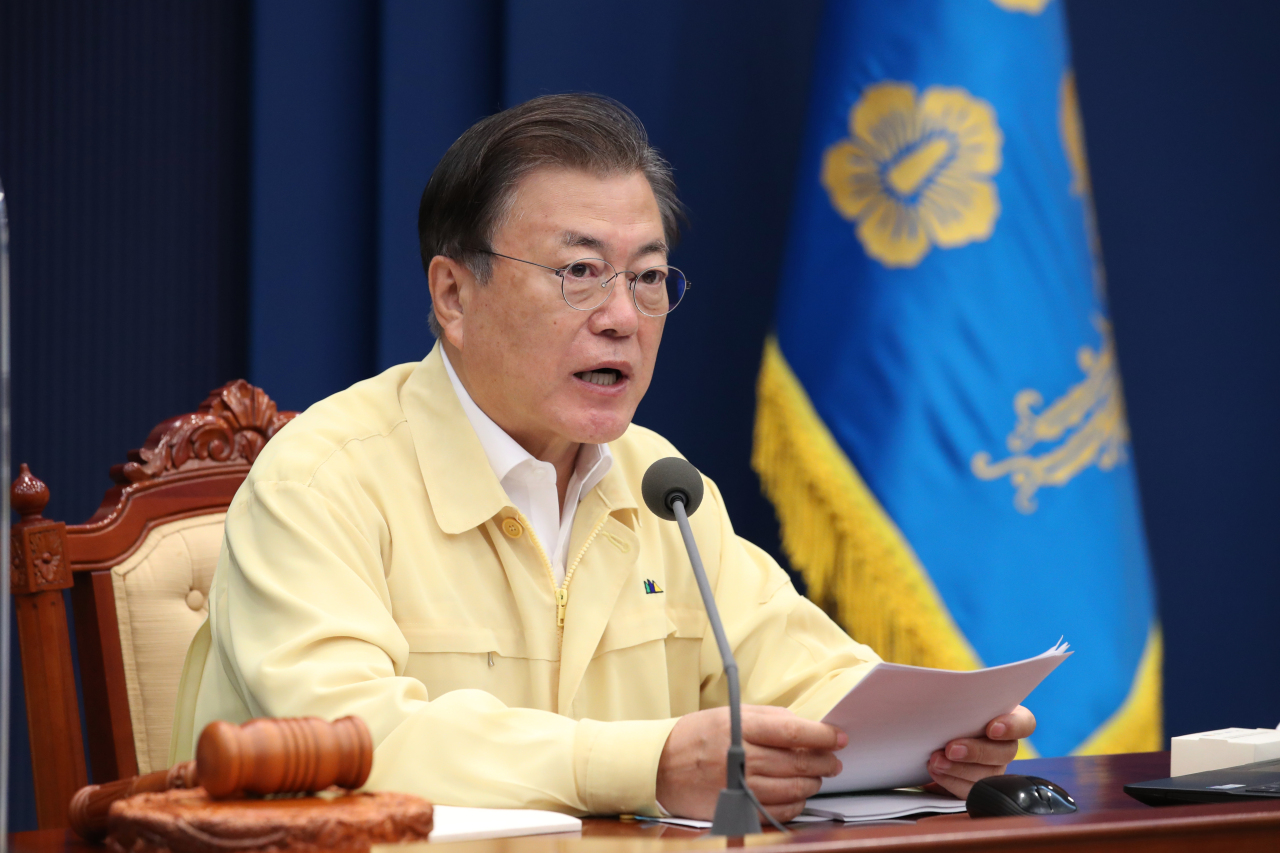 President Moon Jae-in speaks during a Cabinet meeting at Cheong Wa Dae on Tuesday. (Yonhap)