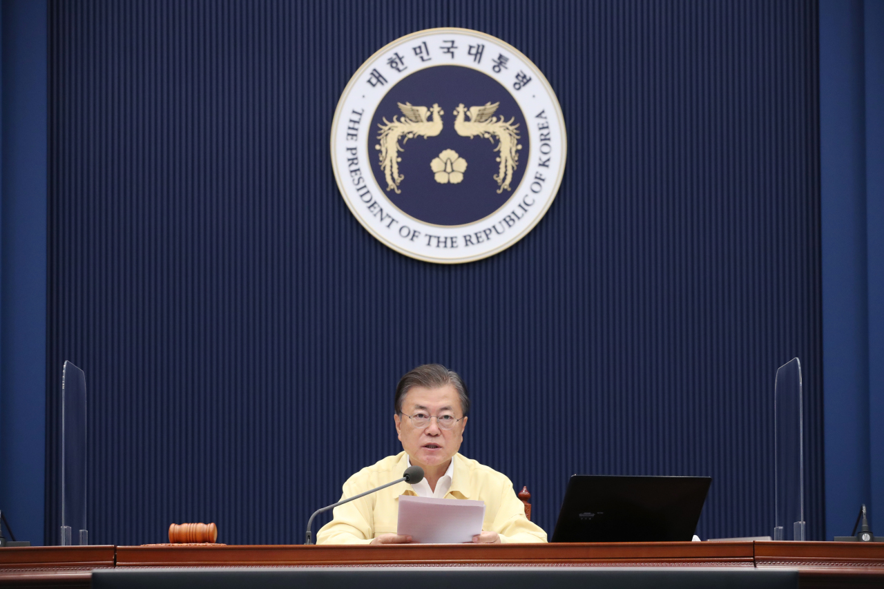 Citing economic damages from pandemic control measures, President Moon Jae-in said Korea could