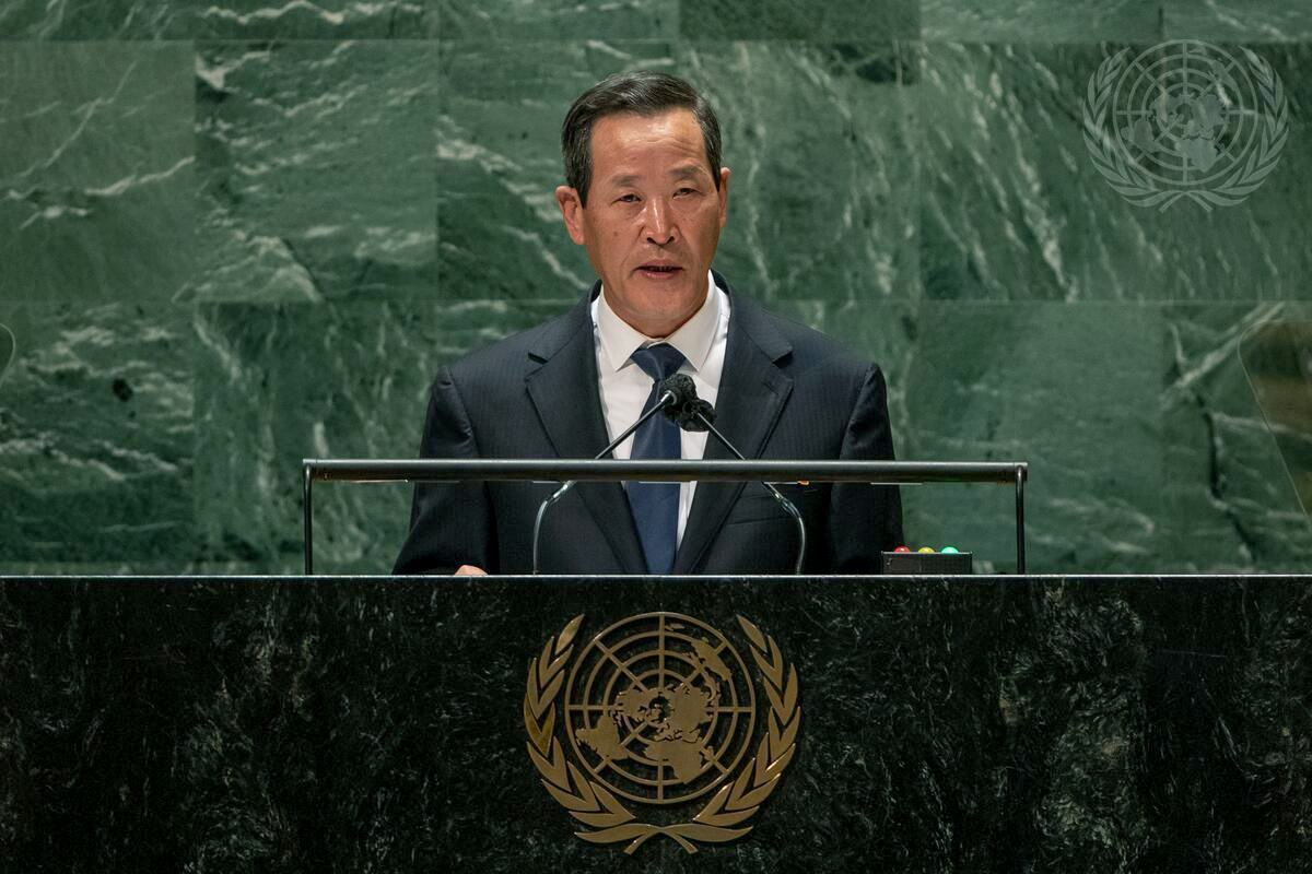"""North Korea's Ambassador to the UN, called on the US to drop its """"hostile policy"""" toward his country in a speech at the UN General Assembly in New York on Monday (US time). (AP-Yonhap)"""