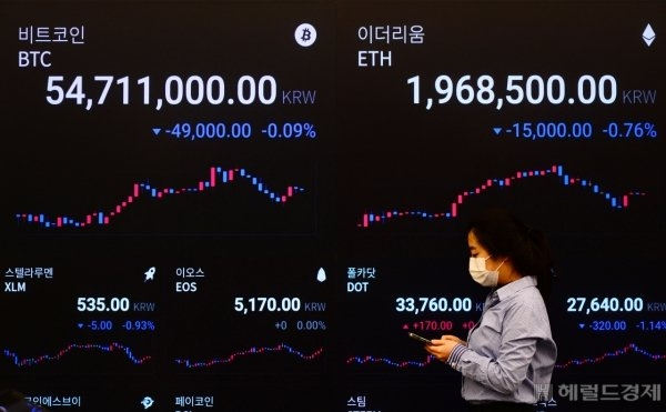 A digital board shows prices of major cryptocurrencies bitcoin and ethereum on August 20 at Upbit's headquarters in Seoul. (Yonhap)