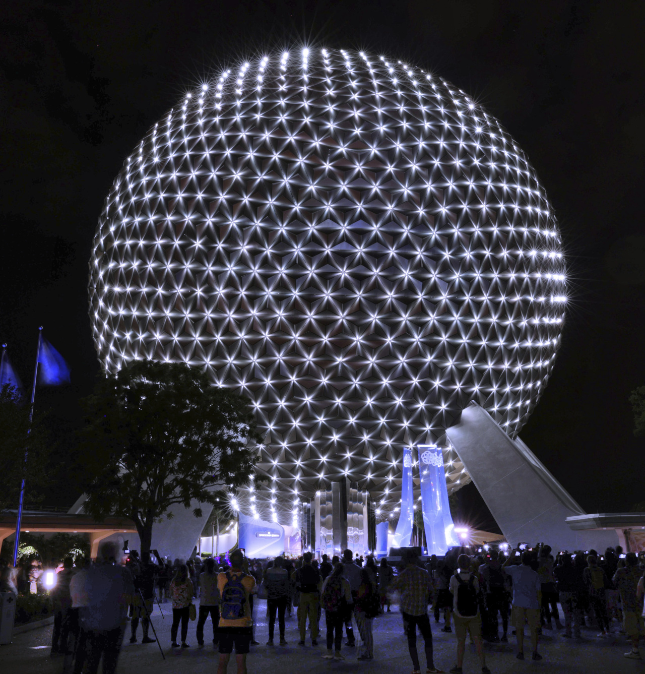 Spaceship Earth at Epcot displays an all-new, first-of-its-kind programmable LED lighting system.