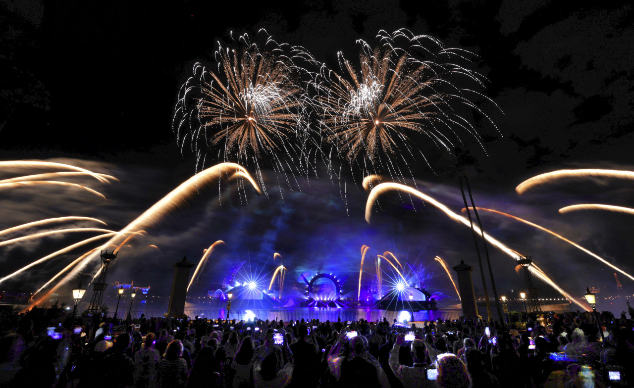 Fireworks illuminate the sky as people gather to take pictures.