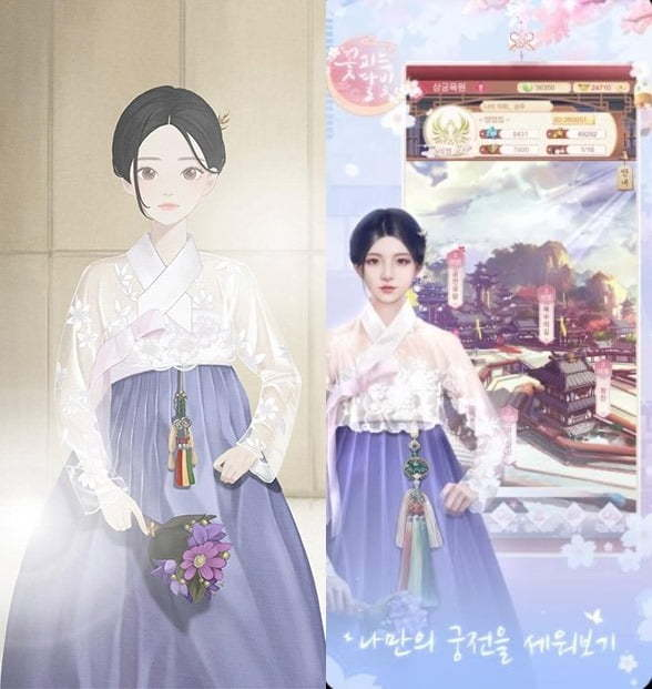 """A hanbok item designed by Baekoaksoo in the Korean game """"Girl Globe"""" (left) and a clothing item featured in Chinese game """"Blooming Moonlight."""" (Aircap)"""