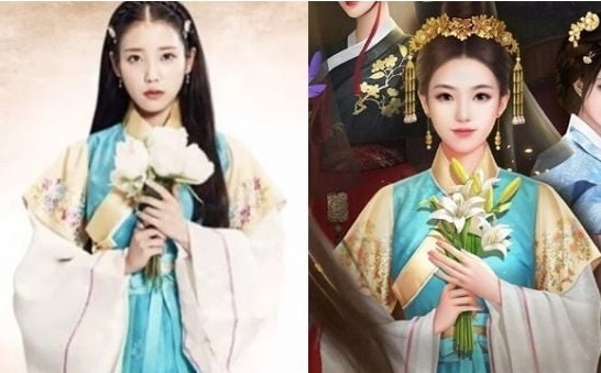 """A hanbok costume worn by Korean singer-songwriter and actress IU in drama series """"Moon Lovers"""" (left) and a clothing item from Chinese game Call Me an Emperor. (Online capture)"""