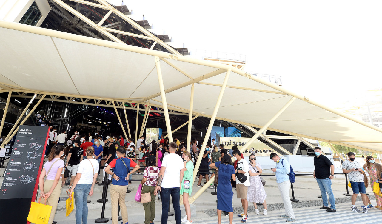 Visitors wait in line in front of the Korea Pavilion at the Expo 2020 Dubai on Friday. (Courtesy of Kotra)