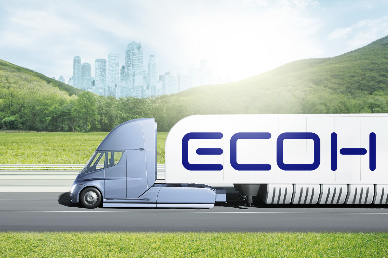 A mockup image of an Ecoh truck carrying hydrogen (Hyundai Glovis)