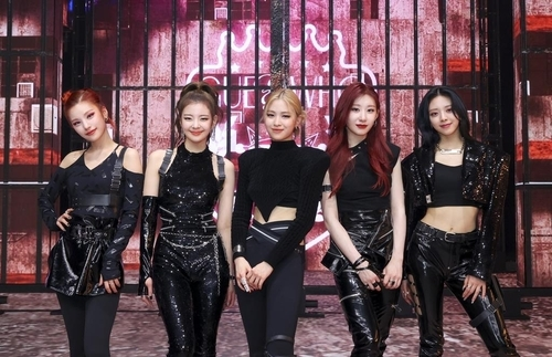 This photo, provided by JYP Entertainment, shows K-pop girl group ITZY. (JYP Entertainment)