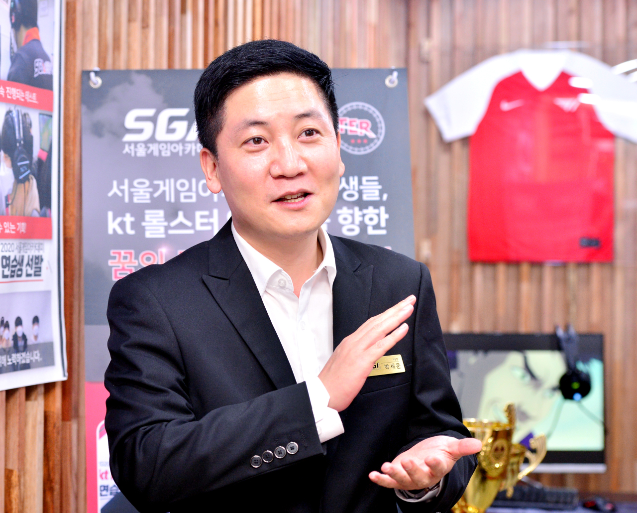 Deputy director Park Se-woon speaks during an interview with The Korea Herald at Seoul Game Academy in Jongno, central Seoul, on Oct. 1. (Park Hyun-koo/The Korea Herald)