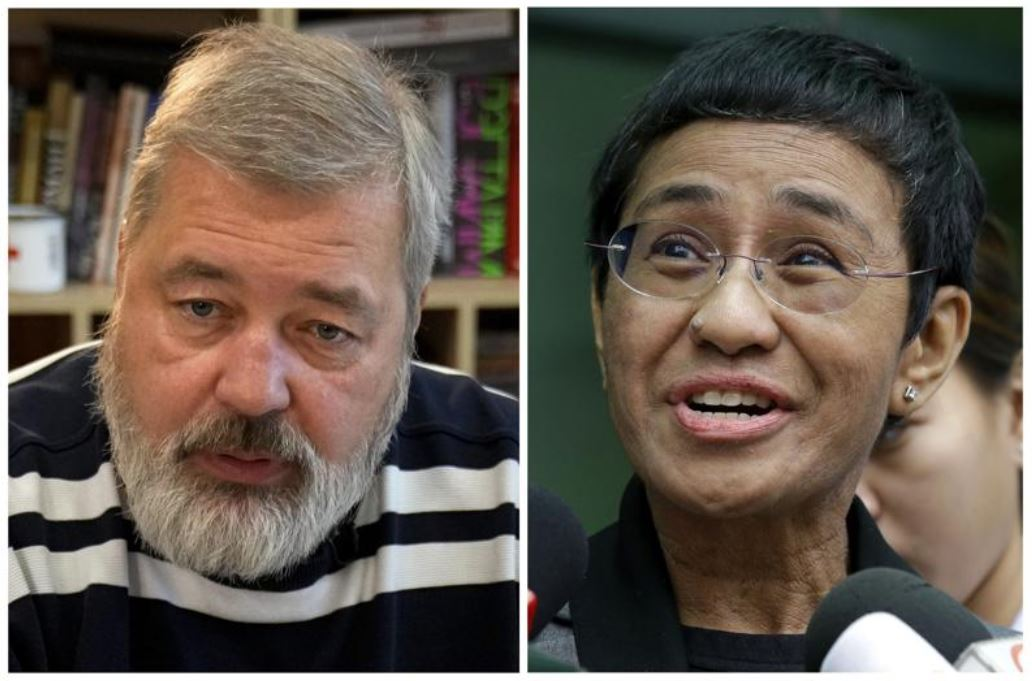 A combo of file images of Novaya Gazeta editor Dmitry Muratov, left, and of Rappler CEO and Executive Editor Maria Ressa. On Friday, Oct. 8, 2021 the Nobel Peace Prize was awarded to journalists Maria Ressa of the Philippines and Dmitry Muratov of Russia for their fight for freedom of expression. (AP)