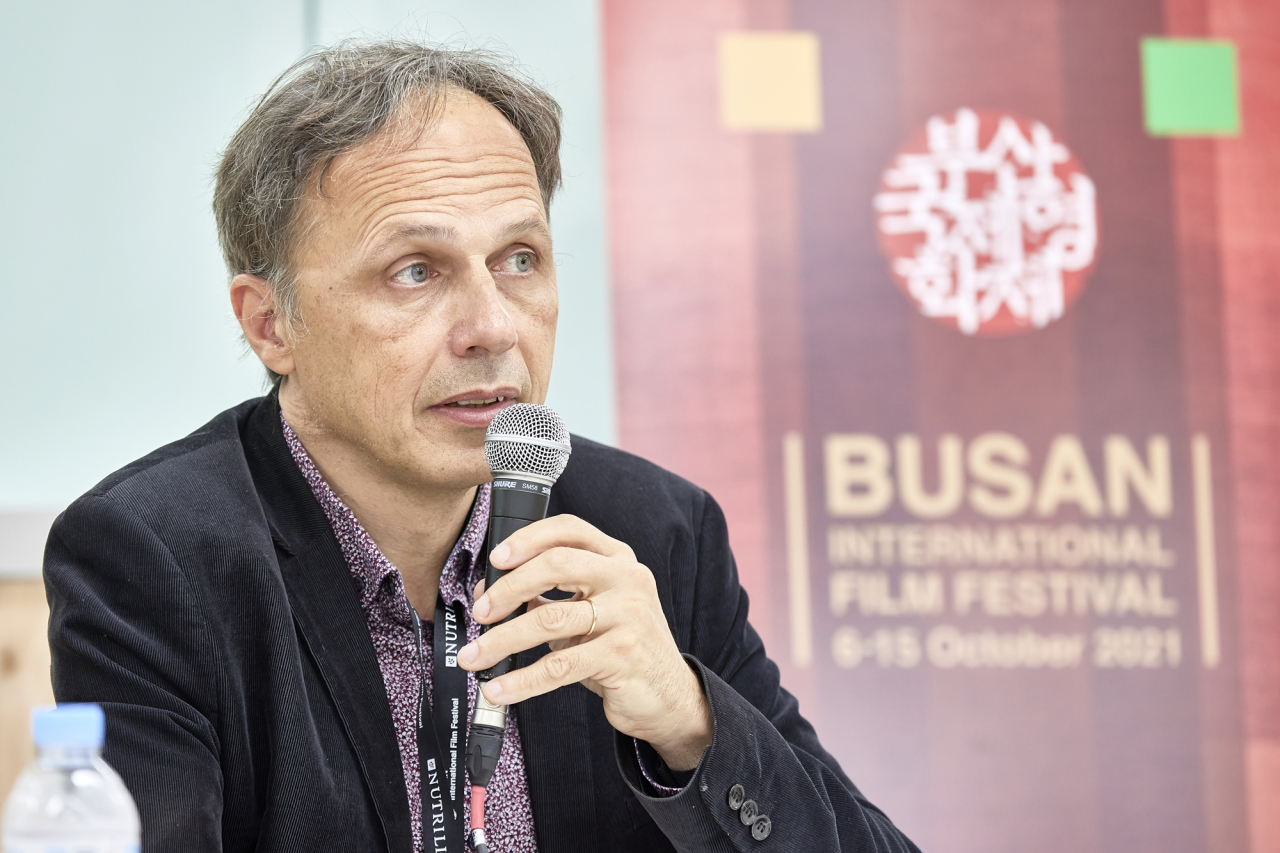 Denis Dercourt speaks during press conference organized by the 26th Busan International Film Festival at the Busan Cinema Center on Friday. (BIFF)