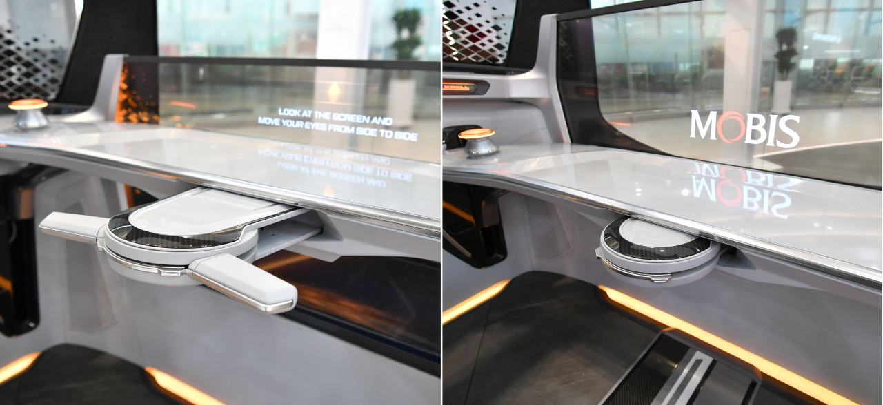 Hyundai Mobis developed a foldable steering wheel that can move forward and back by up to 25cm (Hyundai Mobis)